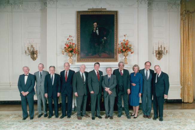 President Ronald Reagan with the Supreme Court Justices
