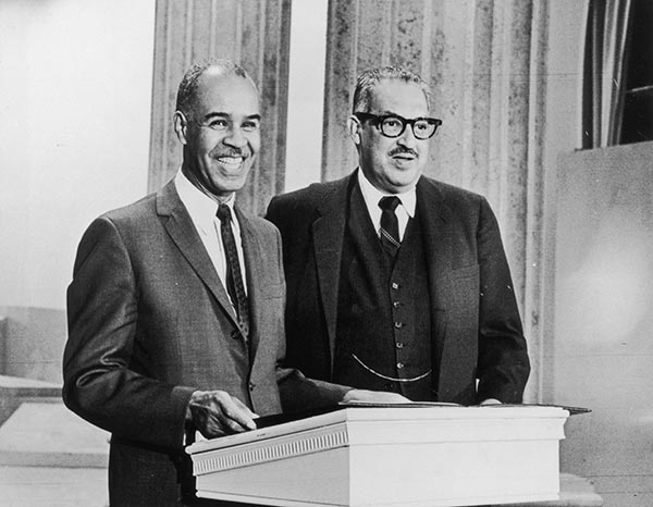 Thurgood Marshall, Charles Houston, and Donald Gaines Murray prepare a desegregation case against the University of Maryland