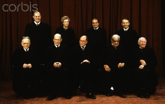 Members of the United States Supreme Court pose for a photo during a photo-op at the U.S. Supreme Court in Washington, D.C. on Tuesday, September 11, 1990 with Thurgood Marshall