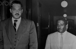 Activist Thurgood Marshall and Arthur Shore Walking Inside Courthouse