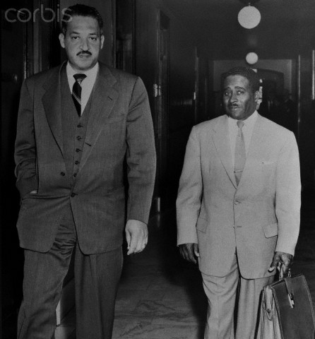 29 Feb 1956, Birmingham, Alabama, USA --- Thurgood Marshall, (L), Chief of the N.A.A.C.P., and Arthur Shore, (R), attorney are shown entering a courtroom.