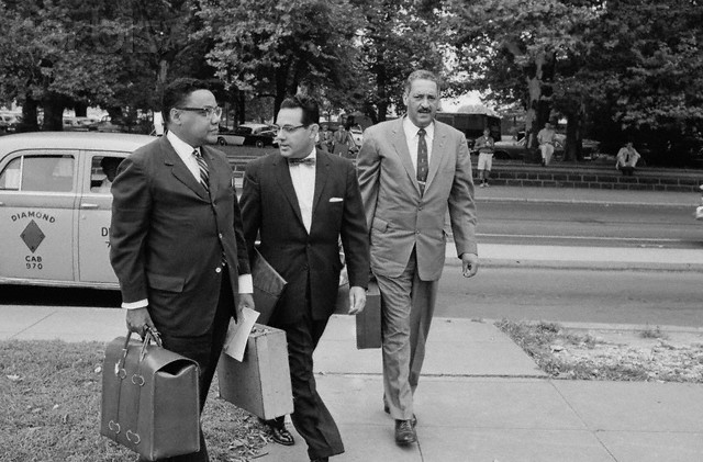 Attorneys for the NAACP are shown. Left to right: William T. Coleman Jr., New York; Wiley A. Branton, Pine Bluffs, Arkansas; and Thurgood Marshall, Chief Counsel. They are due to present arguments before a special session of the Supreme Court in the Little Rock school integration case.