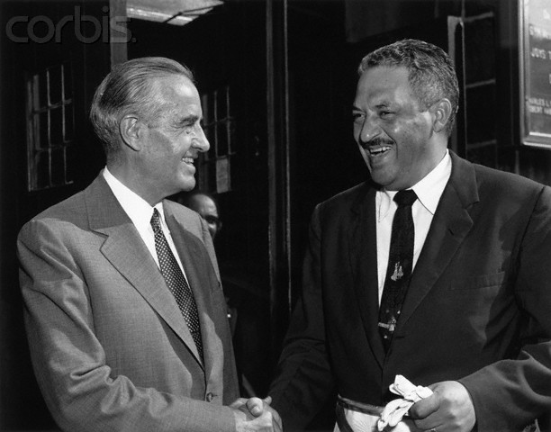 New York Governor Averell Harriman (L) greets NAACP chief Counsel Thurgood Marshall at the Prince Hall Day celebration of the Prince Hall Grand Lodge. The celebration took place at St. Mark's Methodist Church.
