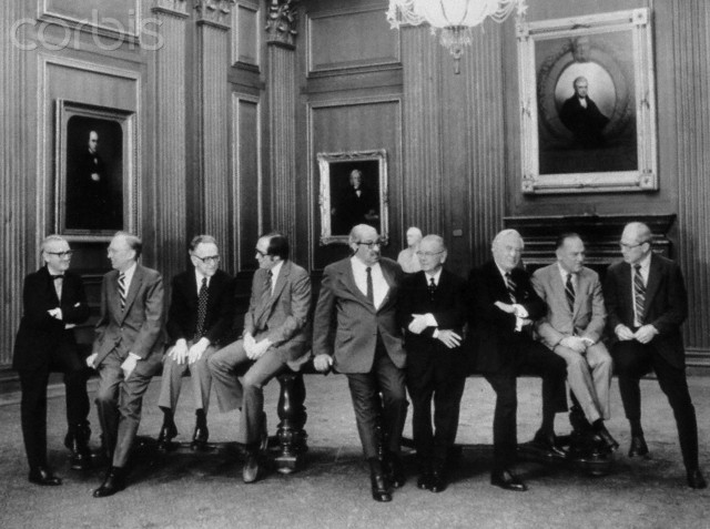10 Jan 1977 --- The U.S. Supreme Court posed recently for what is believed to be the first casual portrait of the entire court. Left to right: Associate Justices John Paul Stevens, Lewis Powell, Henry Blackburn, William Rehnquist, Thurgood Marshall and William Brennan: Chief Justice Warren Burger; and Associate Justices Potter Stewart and Byron White. The photo appears in the January issue of the Smithsonian Magazine.