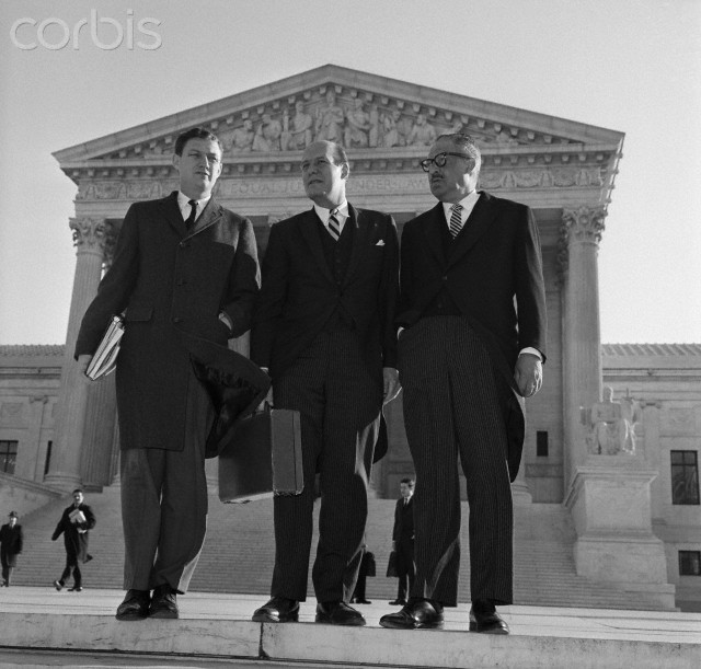 Attorneys for six Southern states fight against the Voting Rights Act of 1965 at their last barricade -- the U.S. Supreme Court. The Government's attorneys are shown after their arrival to oppose the Southerners' case. Pictured (L to R) are: John Doar, Assistant Attorney General for Civil Rights, Attorney General Nicholas Katzenbach; and Solicitor General Thurgood Marshall.