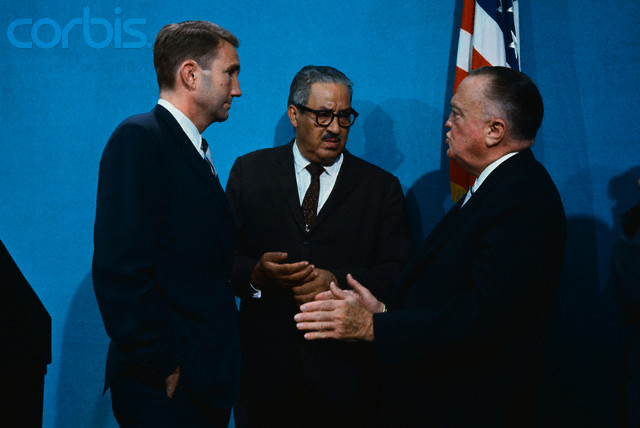 At The White House, on June 21st, where President Johnson addressed members of the National Council on Crime and Delinquency are from left to right: J. Edgar Hoover, FBI Director; Thurgood Marshall, Supreme Court Justice Designate; and Ramsey Clark, Attorney General.