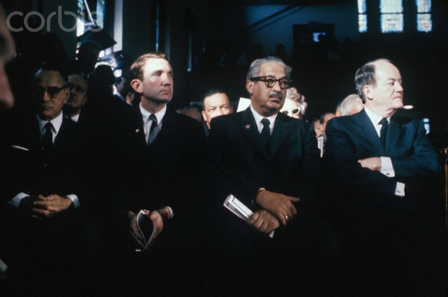 09 Apr 1968, Atlanta, Georgia, USA --- Original caption: Attending funeral services for Dr. Martin Luther King, Jr., in Ebenezer Baptist Church are (left to right): Vice President Hubert Humphrey; Supreme Court Justice Thurgood Marshall; Attorney General Ramsey Clark; U.N. Official Ralph Bunche; and Robert Weaver (in back of Bunche), Secretary of Housing and Urban Renewal.