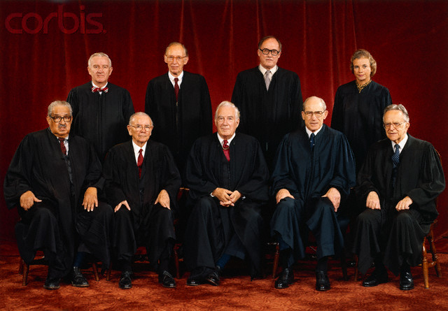 The Supreme Court released this official photograph of the high Court. The Justices are (left to right front row;) Thurgood Marshall; William J. Brennan Jr.; Chief Justice Warren Burger; Byron R. White; Harry A. Blackmun. (Back row, left to right;) John Paul Stevens; Lewis F. Powell, Jr.; William H. Rehnquist; Sandra Day O'Connor.
