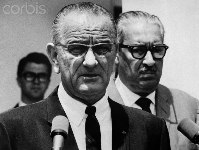 President Johnson today named Thurgood Marshall to be the first black Justice of the Supreme Court. Johnson personally announced the selection at the White House as Marshall stood beside him. Marshall, Solicitor General of the United States, will replace Justice Tom Clark who has resigned. 6/13/1967