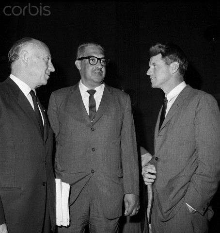Judge Thurgood Marshall (center) was assured of quick confirmatuion today as U.S. Solicitor General after a brief hearing before a Senate Judiciary subcommittee. Confirmation is expected to be completed as soon as three absent members are polled. The 57 Year-old negro is shown with New York Senators, Republican Jacob Javits (left) and Democratic Robert F. Kennedy, (Right).