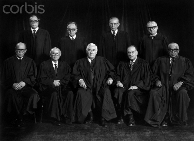 The members of the 1976 United States Supreme Court, led by Chief Justice Warren Burger.