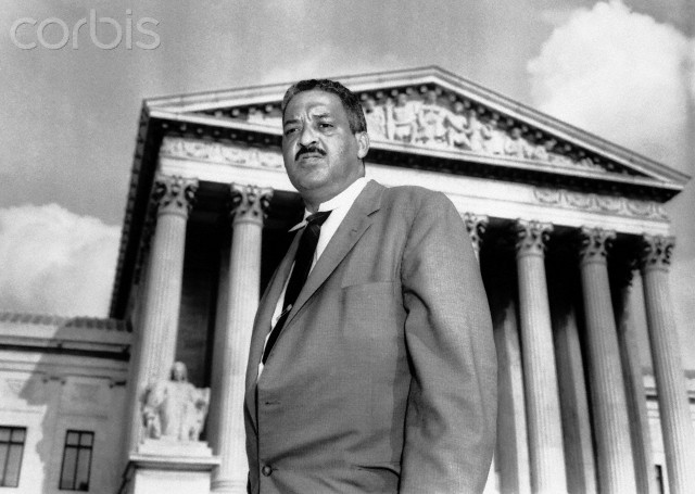 NAACP Chief Counsel Thurgood Marshall in front of the Supreme Court where he made a last-ditch appeal that would permit African American children to reenter Central High School in Little Rock, Arkansas. Legal resources expressed belief there was little chance the move would succeed.