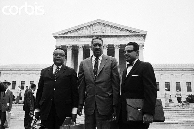 Attorneys for the NAACP are shown. Left to right: William T. Coleman Jr., New York; Thurgood Marshall, Chief Counsel; and Wiley A. Branton, Pine Bluffs, Arkansas. They are due to present arguments before a special session of the Supreme Court in the Little Rock school integration case.