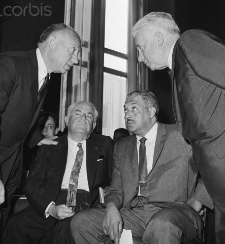 Thurgood Marshall, well-known negro attorney (seated right) appears before Senate Judiciary Subcommittee today for a second examination of his nomination to be a judge for the Second Circuit Court of Appeals in New York City. It has been nearly then months since President Kennedy asked the Senate to confirm Marshall. Shown here are New York Republican Senators Jacob Javits (left) and Kenneth Keating (right) standing. Seated are Judge Samuel Rosenman (left) and Thurgood Marshall.
