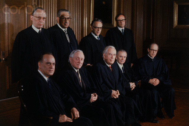 20 Apr 1972, Washington, DC, USA --- Original caption: This formal portrait of the U.S. Supreme Court Justices was made as the membership changed. Justices Powell and Rehnquist both took their seats on January 7th, 1972. Left to right in the front row is Potter Stewart, William O. Douglas, Chief Justice Warren E. Burger, Associate Justices William J. Brennan Jr., and Byron R. White. In the back row is Associate Justices Lewis Powell Jr., Thurgood Marshall, Harry A. Blackmun, and William H. Rehnquist.