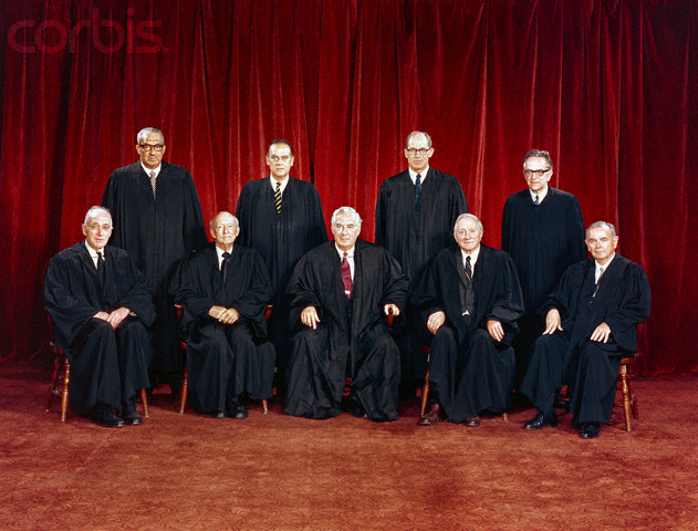 22 Jan 1971 --- United States Supreme Court. Front row: Justice John M. Harlan, Justice Hugo L. Black, Chief Justice Warren E. Burger, Justice William O. Douglas, Justice William J. Brennan, Jr. Back row: Justice Thurgood Marshall, Justice Potter Stewart, Justice Byron R. White, and Justice Harry A. Blackmun.