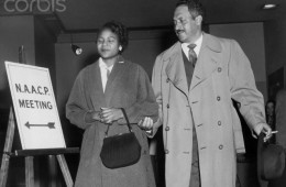 Thurgood Marshall Escorting Autherine Lucy to NAACP Meeting