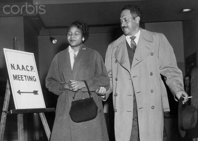 "Faces Countersuit. Autherine Lucy (Left), 26-year-old Negro who was for a brief time the only member of her race ever to attend the University of Alabama, arrives with Thurgood Marshall, special counsel of the National Association for the advancement of Colored People, at a press conference at NAACP headquarters here March 2nd. Miss Lucy, four other Negroes, and the NAACP were sued for damages totaling $4,000,000, March 2nd, by four persons charged by Miss Lucy of conspiring to keep her from attending the University of Alabama. The suits charged that Miss Lucy had no ""real desire to go to the University and was being paid $300. a month"" by the NAACP."