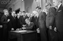 President Johnson Signs Civil Rights Bill