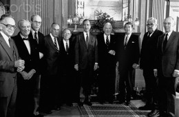 President-elect Ronald Reagan with George Bush and Members of Supreme Court