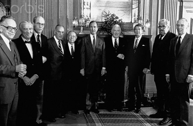 19 Nov 1980, Washington, DC, USA --- Original caption: Washington: President-elect Ronald Reagan and Vice President-elect George Bush met with members of the United States Supreme Court at the court. Shown (left to right) Associate Justices Harry A. Blackmun, John Paul Stevens, Byron Raymond White, Potter Stewart, William Joseph Brennen, Jr.Bush, Chief Justice Warren Earl Burger, Reagan, Thurgood Marshall, and Lewis F. Powell, Jr. Justice William H. Rehnquist was out of town.