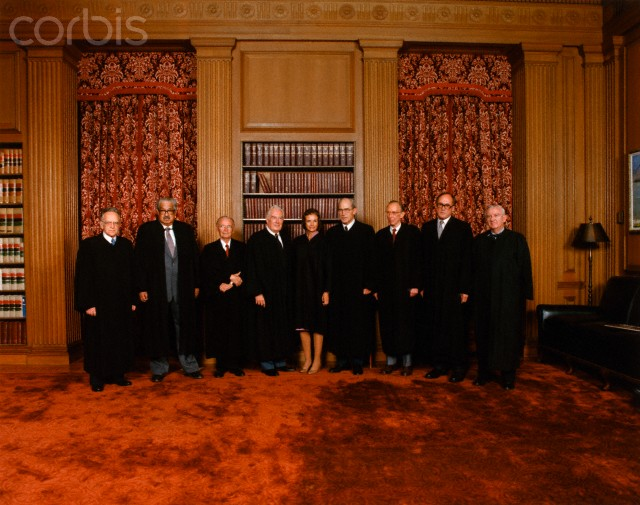 25 Sep 1981 --- From left to right are Supreme Court Justices Harry Blackmun, Thurgood Marshall, William Brennan, Warren Burger, Sandra O'Connor, Byron White, Lewis Powell, William Rehnquist and John Paul Stevens.