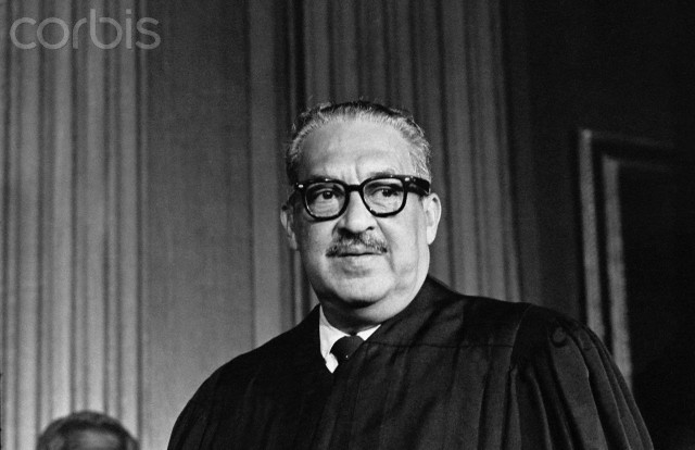 Thurgood Marshall, the great-grandson of a slave, takes his seat as the first black member of the United States Supreme Court.