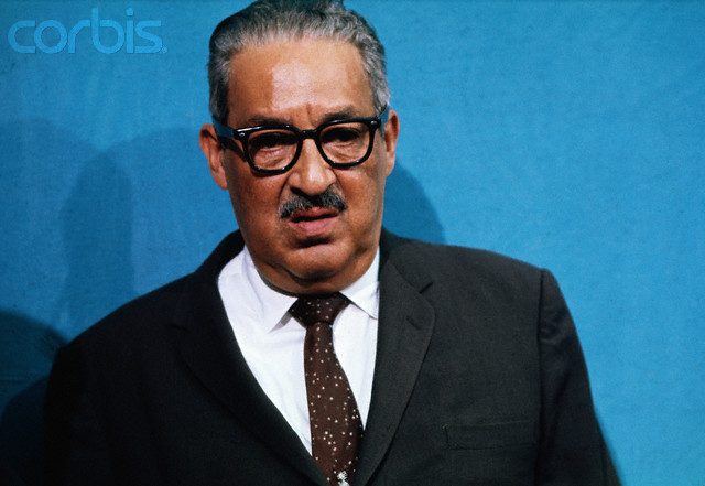 Thurgood Marshall at the White House, where President Johnson addressed members of the National Emergency Committee of the National Council on Crime and Delinquency.