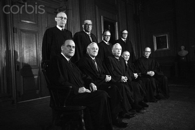 20 Apr 1972, Washington, DC, USA --- Justices of the Supreme Court of the United States pose for an official portrait. Left to right, front row: Justices Potter Stewart, William O. Douglas, Chief Justice Warren E. Burger, Justices William J. Brennan Jr. and Byron R. White. Back row: Justices Lewis F. Powell Jr., Thurgood Marshall, Harry A. Blackmun and William H. Rehnquist.