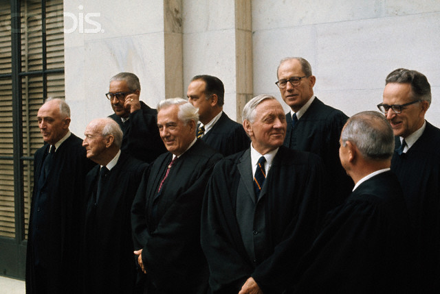 09 Oct 1970, Washington, DC, USA --- Original caption: Washington, D.C.: Group photograph of the U.S. Supreme Court Justices. The newest justice, Harry Andrew Blackmun, took his seat June 9, 1970, succeeding Abe Fortas, who resigned. Front row: John M. Harlan, Hugo L. Black, Chief Justice Warren E. Burger, William O. Douglas and William J. Brennan, Jr. Back Row: Associate Justices Thurgood Marshall, Potter Stewart, Byron R. White and Harry A. Blackmun.