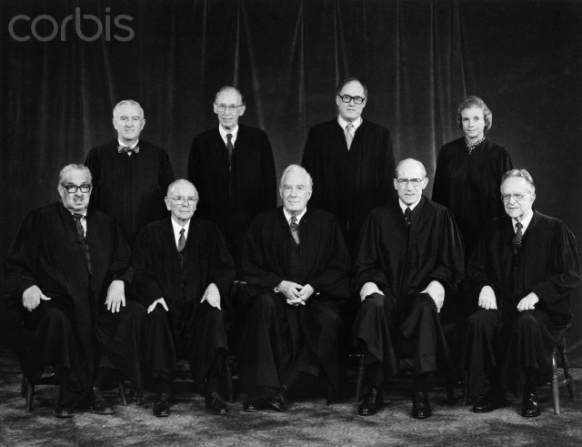 From left to right in the front: Thurgood Marshall, William J. Brennan, Jr., Chief Justice Warren Burger, Byron R. White, and Harry A. Blackmun. In back:: John Paul Stevens, Lewis F. Powell, Jr., William H. Rehnquist and Sandra Day O'Connor.