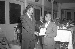 Thurgood Marshall receivivng NAACP plaque from Carl Murphy