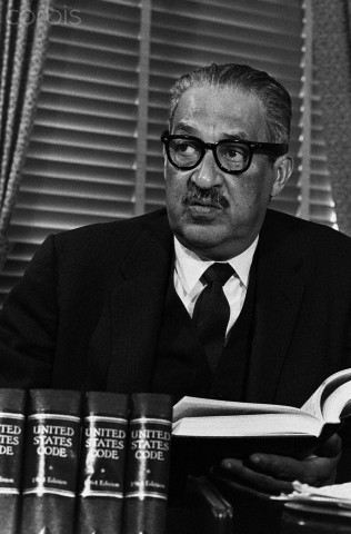 Thurgood Marshall, (1908-1993), who in 1954 successfully argued the case which desegregated American public schools before the Supreme Court. He was himself appointed to the Supreme Court in 1967, where he served until 1991, as the first African American on the Court.
