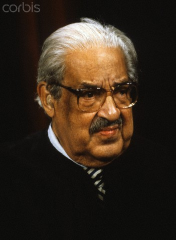 Associate Justice of the United States Supreme Court Thurgood Marshall poses for a photo during a photo-op at the U.S. Supreme Court in Washington