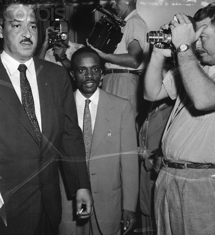 Lawyers Thurgood Marshall of New York (L), chief attorney for the NAACP, and George E. Howell of Pine Bluff, Arkansas arrive at the court house. Judge Ronald N. Davies' special hearing on integration was jammed long before court was in session.