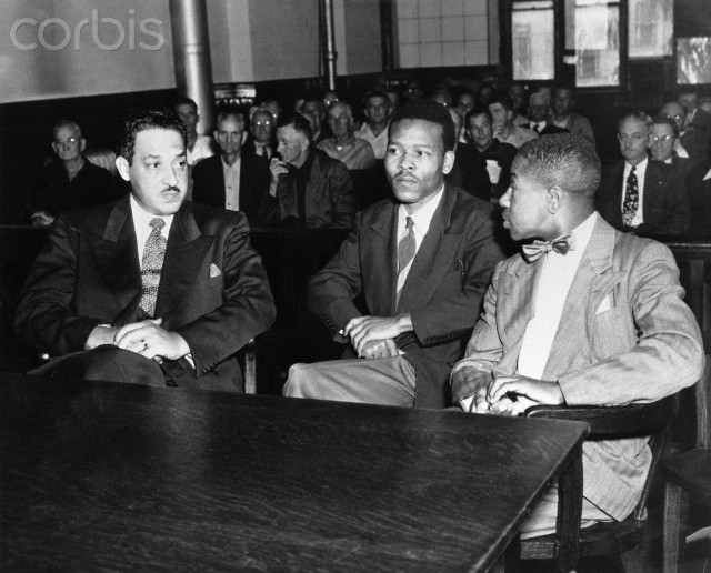 Walter Lee Irvin speaks with his attorneys during his trial for rape. (L-R) Thurgood Marshall, Washington,DC, Chief Counsel for the NAACP; Irvin; and Paul C. Perkins Jr. Irvin, one of four Negroes charged with kidnaping and raping a young Florida housewife, was sentenced to die in the electric chair.