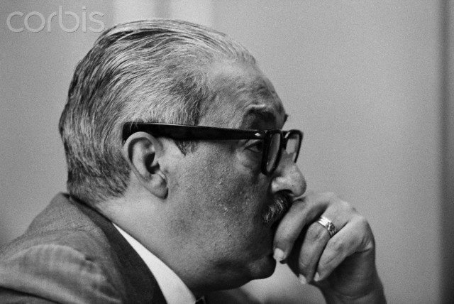 Thurgood Marshall ponders a question as he undergoes grilling for a fifth day today by Southern senators on the Senate Judiciary Committee on his nomination to the Supreme Court. Marshall, the first negro ever to be nominated, said it may be possible to draw up a law permitting police eavesdropping that would be constitutional.