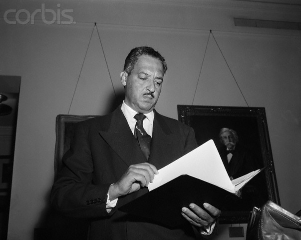 Waist-up view of Thurgood Marshall holding book. Photo circa 1955.