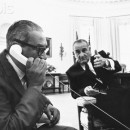 Thurgood Marshall on Telephone in Oval Office