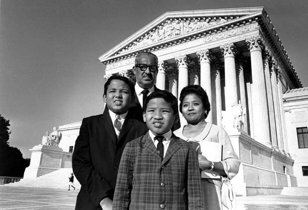 New Supreme Court Justice Thurgood Marshall poses with his his wife Celia, and their two sons, Thurgood Jr. and John, outside the Supreme Court Building in Washington. On Sept. 2, 1967, Chief Justice Earl Warren gave the oath to Marshall, who became the first black justice of the U.S. Supreme Court. Marshall retired in October 1991 and was replaced by Clarence Thomas.