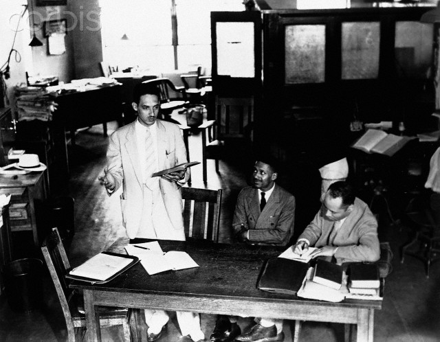 Thurgood Marshall, Charles Houston, and Donald Gaines Murray prepare a desegregation case against the University of Maryland in 1935.