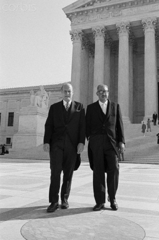 The US Supreme Court opened its 1965-1966 term today with a greeting for Solicitor General Thurgood Marshall, the first African American to hold that position. Solicitor General Marshall (r) stands outside the court building with Attorney General Nicholas Katzenbach.